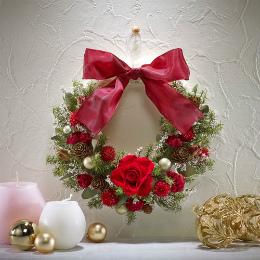 【日比谷花壇】【クリスマス】クリスマス・お正月2WAYリース「レッド」