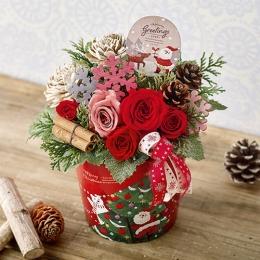 【日比谷花壇】【クリスマス】プリザーブドアレンジメント「ハッピースノーマン」