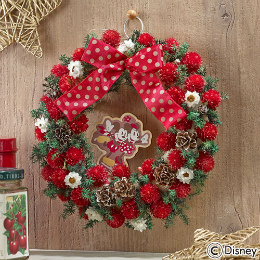 【日比谷花壇】【クリスマス】ディズニー ドライフラワー「ミニー ぬいぐるみリース」