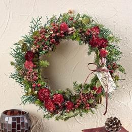 【日比谷花壇】【クリスマス】ドライフラワーリース「リース ド ルージュ」