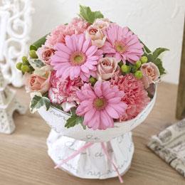 〈日比谷花壇〉【ネット限定】そのまま飾れるブーケ「ラブリーピンク」
