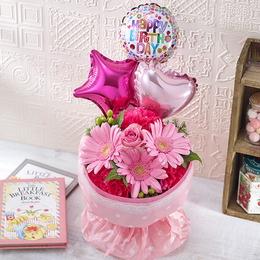 【日比谷花壇】そのまま飾れるブーケ「Happy Birthday バルーン」