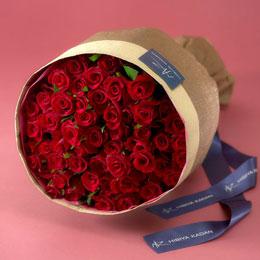 【日比谷花壇】50本の赤バラの花束「アニバーサリーローズ」