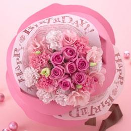 日比谷花壇〈日比谷花壇〉バラの形の花束ペタロ・ローザ「バースデーギフト」