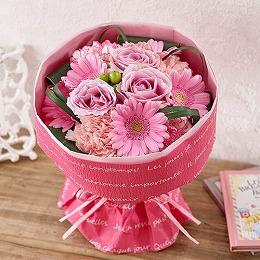 <日比谷花壇>そのまま飾れるブーケ「グランデ・ピンク」