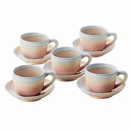 【日比谷花壇】萩焼 ミニコーヒー碗皿5客(山口県)