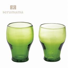【日比谷花壇】琉球ガラス セルママ フリーカップペアセット(グリーン)(沖縄県)