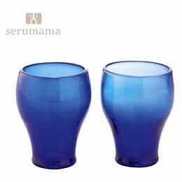 【日比谷花壇】琉球ガラス セルママ フリーカップペアセット(ブルー)(沖縄県)
