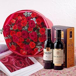 日比谷花壇【日比谷花壇】ハーフボトルワイン(DEEP & PURE)と赤いスプレーバラの花束