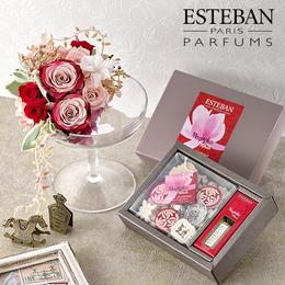 〈日比谷花壇〉香りを楽しむギフト ESTEBAN「マグノリアローザ」とアロマディッシャーのセット