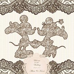 <日比谷花壇>ディズニー ウェルカムボード「お花とレースに包まれて」(ミッキー&ミニー)