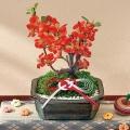 【日比谷花壇】お正月 「木瓜盆栽(赤系)」