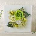 【日比谷花壇】プリザーブド&アーティフィシャルアレンジメント「ローズブロッサム・グリーン」(ホワイト)