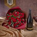 赤ワインとバラの花束「ルビーレッド」